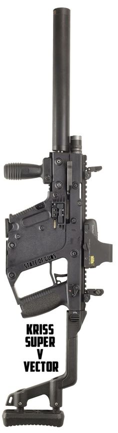 Kriss Super V Vector system with capability to adapt to all existing small arms calibers, including .223 Rem and .308 is a perfect SMG submachine gun.