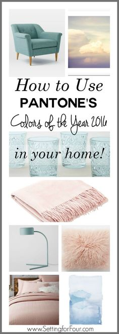Pantone Announces Two Colors of the Year 2016 - Setting for Four - Home Decor Home Decor Colors, Colorful Decor, Home Decor Accessories, Colorful Interiors, House Colors, Pantone 2016, Pantone Color, Home Decor Trends, Home Decor Inspiration