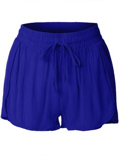 Womens Elastic Waist Summer Beach Shorts | Elastic waist, Shorts ...