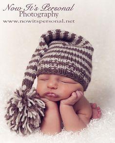Newborn pic idea? I think so.    Knit Hat Pattern Baby Long Tail Elf Pixie Hat