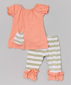 Look what I found on #zulily! Coral & Gray Stripe Pocket Tunic Set - Infant, Toddler & Girls #zulilyfinds