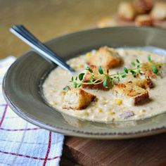 corn chowder with smokey bacon and thyme scented croutons corn chowder ...