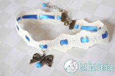 Gargantilla Atelier en tira bordada y listón, con moño de filigrana. Inspirada en la moda Lolita. #Lolita #Collar #Gargantilla #Azul #Liston
