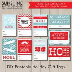 Printable Christmas Gift Tags by SunshineAndPop