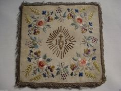 antique 1800 silk embroidered Chalice cover pansies roses