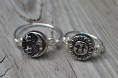 Boho Moon Sun Ring 2 simple rings in 1 by CrystalShipCreations, $14.50