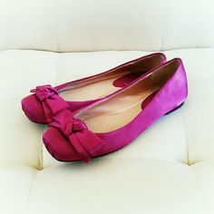 Aldo ballet flats * Price Negotiable * No Trades *   Beautiful magenta satin-y ballet flats from Aldo. Size 8. Worn a couple times that's it. No scuffs, rips or stains.  EUC and could put you in the mood to do a pas de bourree :)  { 15 % off bundles of 2 + listings } ALDO Shoes Flats & Loafers