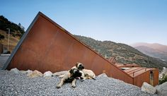 Sebastián Irarrázaval's multiple shipping container, multi-volume house in the Andes foothills.