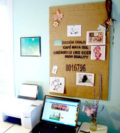 Use a coffee sack to give a unique twist to your bulletin board