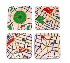 map coasters  I LOVE TLV by efratul on Etsy, $19.00