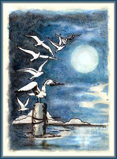 anjas-artefaktotum: Night Flight of black Birds or white Seagulls (stamp from Katzelkraft)