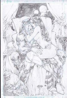 Sciencefiction erotische Karikatur