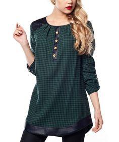 Look at this #zulilyfind! Green Gingham Button Placket Tunic #zulilyfinds