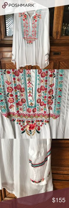 Johnny Was embroidered tunic White cupra rayon tunic with intricate embroidery down the front and on sleeves. Johnny Was Tops Tunics