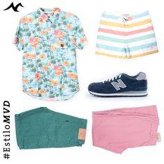Look veraniego para que los hombres de la familia sorprendan este verano. #EstiloMVD. Camisa, Traje de baño y Bermuda Uniform,  Championes New Balance Macri , Pantalón rosa Gap