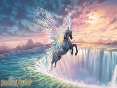bella sara-awakin water spirt - water, pegasus, mountains, sunset