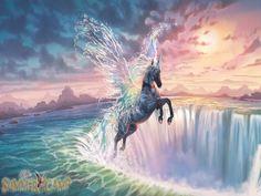 bella sara-awakin water spirt - water, pegasus, mountains, sunset