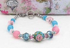 Rose Bracelet by Libbis Designs  Turquoise Pink Silver