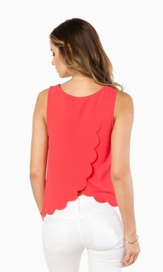 SWEET AND SCALLOPED TANK TOP IN CORAL