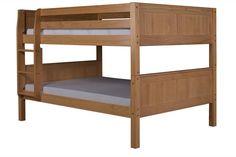 Camaflexi Full over Full Low Bunk Bed - Panel Headboard - Natural Finish - C2221_NT