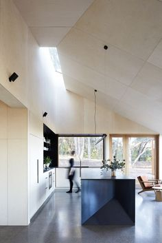 Love the colour of the plywood ceiling -  Gallery of Two Halves / Moloney Architects