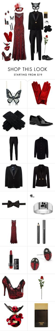 """""""Ladybug and Chat Noir-Miraculous Ladybug"""" by conquistadorofsorts ❤ liked on Polyvore featuring Andrew Hamilton Crawford, Calvin Klein, SELECTED, Paul Smith, Alexander McQueen, Balmain, Givenchy, Masquerade, Ariella and Burberry"""