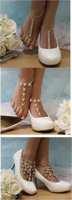 Breathtaking silver rhinestone and pearl barefoot sandals add a little Oh La La to your wedding. Our lovely barefoot sandals have a pearl detail that makes you feel like you are a princess wearing the