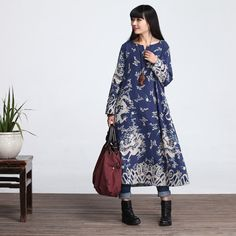 Casual Loose Fitting Long Sleeved Cotton Long Dress Blouse-Women Maxi dress