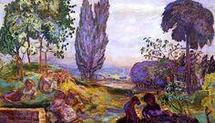 Pierre BONNARD ( 1867 - 1947 ) Paysage animé