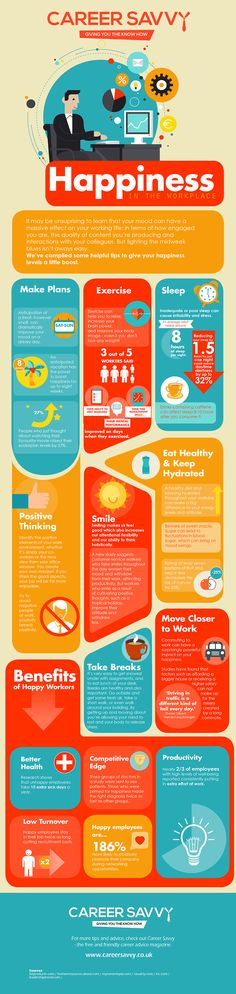 Infographic: Happiness in the Workplace  We all know the importance of happiness in the workplace. For some, however, it's not crystal clear exactly how to achieve it. As it turns out, a lot of external and personal factors can affect the happiness of your working life, and vice versa. So what steps can you take to make your working life happier and more satisfying? Our latest infographic will help you find out.