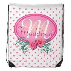 http://www.zazzle.com/pink_frame_monogram_rose_reusable_grocery_bags-256101615263102890?rf=238523064604734277 Pink Frame Monogram Rose Backpack - This drawstring backpack has lots of pink roses all over. It has a pink monogram frame with roses and green foliage in which to place your name and initial. This would make a wonderful birthday or Christmas gift for your friend, wife, mother or daughter.