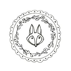 Embroidery pattern of a little fox face in a round frame of a leafy wreath and scallops and dots. This is a digital file to be downloaded to