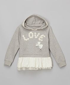 Look at this #zulilyfind! Gray Lace 'Love' Skirted Hoodie - Infant, Toddler & Girls #zulilyfinds