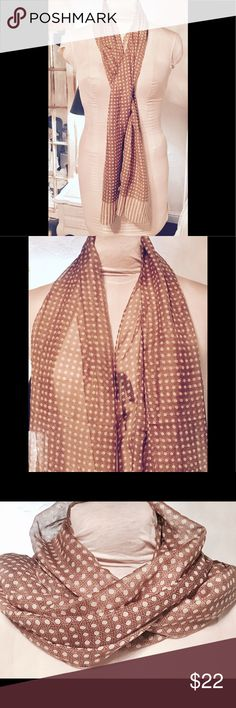 "Lovely ITALIAN SCARF 62 X 15 1/2"" Pre owned, gently worn and in excellent condition. No rips, snags, stains or holes. Smoke free home. Made in Italy. 190% polyester. 62"" X 15 1/2"". Color is golden brown and tan. Accessories Scarves & Wraps"