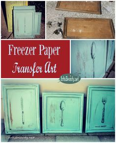 ART IS BEAUTY: vintage Kitchen wall art. Roadside rescue cupboard doors, chalk paint and freezer paper