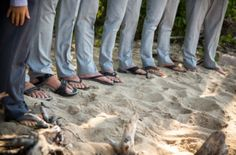 Groomsmen all wearing sandals  Photo by Becky Fluery