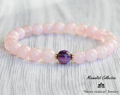 8mm Rose quartz bracelet - Gift for her - Beaded Bracelet - Womens gift - Rose quartz Jewelry - Gemstone Bracelet