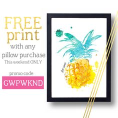 FREE #DylonThePineapple print with every pillow purchase this weekend! Get excited and check out the shop today.