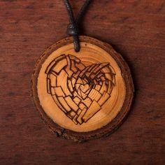Herz - Ketten Holzschmuck aus Naturholz / Anhänger Biscuit, Abs, Vegan, Chains, Handmade, Wristlets, Crunches, Abdominal Muscles, Crackers
