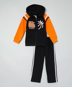 Love this Black & Orange 'ALL STAR' Hoodie & Track Pants - Toddler by Tuff Cookies on #zulily! #zulilyfinds