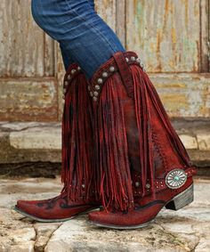 Gorgeouse+Lane+Boots+For+DD+Ranch+Prescott+Fringed+Cowgirl+Boots+Red+++ - Boots Cowgirl Mode, Red Cowgirl Boots, Cowgirl Chic, Cowgirl Style, Fringe Cowboy Boots, Fringe Boots Outfit, Black Boots, Bota Country, Estilo Country