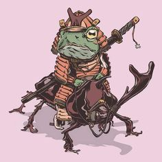 The Lilypad Samurai Frogs Protect Feudal Japan Character Concept, Character Art, Concept Art, Art Ninja, Hannya Maske, Frog Tattoos, Frog Art, Samurai Art, Kawaii