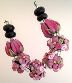 Tulip and flower lampwork glass beads by blissfulgardenbeads
