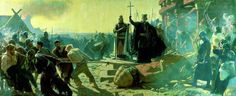 Laurits Tuxen (1853-1927): King Valdemar the Great and Bishop Absalon topples the god Svantevit at Arkona the Wendish capital, during the conquest and christinisation of Pomerania - 1168