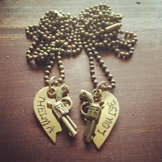 Brass Broken Hearts Stamped Thelma and Louis Attached to Brass Chains on Etsy, $28.00