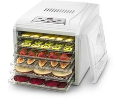 Gourmia GFD1650 Premium Countertop Food Dehydrator, With 6 Drying Shelves, Digital Thermostat, 8 Preset Temperature Settings, Airflow Circulation, Countdown Timer Free Recipe Book Included ¬C White ** Details can be found by clicking on the image.