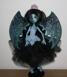 OOAK, One of a kind Monster High Doll Custom Repaint - Azura Snow - Ice demon Zombie horror scary doll