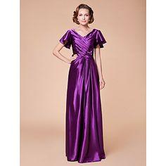 Sheath/Column+V-neck+Floor-length+Stretch+Satin+Mother+of+the+Bride+Dress+–+USD+$+149.99