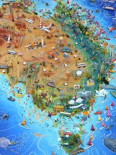Sara Drake - Illustrated Map of Australia - detail of East Coast including sydney, Melbourne, Adelaide and Brisbane. Made from a mixture of materials, including balsa wood, paper, wire and beads. All the features are handmade. http://houses-for-sale-in-australia.com/