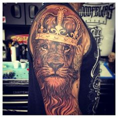 King-Lion-Tattoo Another great design that includes a crown and the idea that he is the king.